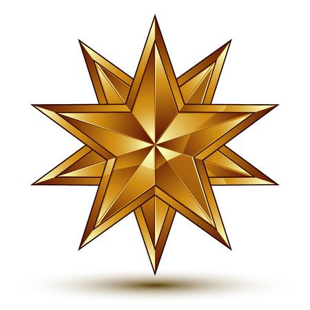 sophisticated: Sophisticated vector golden star emblem, 3d decorative design element, clear EPS 8.