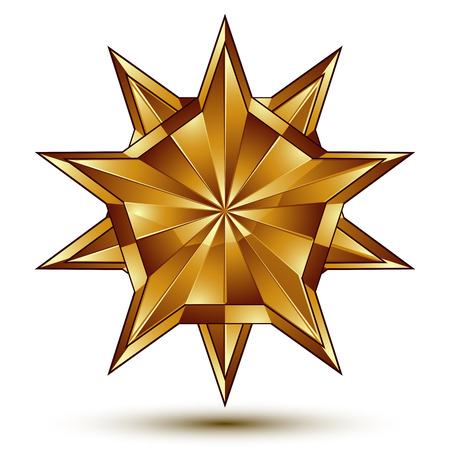 awarded: Heraldic 3d glossy icon can be used in web and graphic design, five-pointed golden star, clear EPS 8 vector.