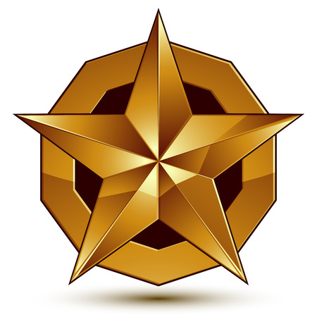 aurum: Geometric vector classic golden element isolated on white backdrop, dimensional decorative star shaped blazon.