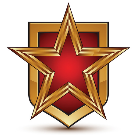 Heraldic 3d glossy shield icon with a golden star, graphic design element, five-pointed star with red filling, clear EPS 8 vector.