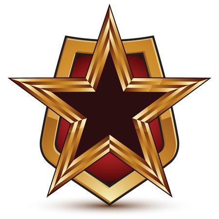 Refined vector golden star emblem placed on a shield, 3d pentagonal glossy design element, clear EPS 8.