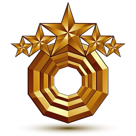 glorious: Vector glorious glossy design element with 5 luxury 3d golden stars, conceptual graphic template, clear EPS 8. Illustration