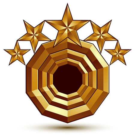aurum: 3d vector classic royal symbol, sophisticated golden round emblem with 5 stars isolated on white background, glossy aurum element.