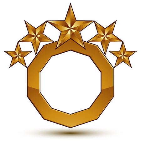 magnificent: Heraldic 3d glossy icon can be used in web and graphic design, five-pointed golden stars, clear EPS 8 vector.