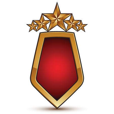 Heraldic 3d glossy icon with red filling, five pentagonal golden stars, clear EPS 8 vector glamorous shield isolated on white background.