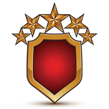 branded: Graphic vector red shield emblem with five golden stars, 3d branded pentagonal design element, clear EPS 8.