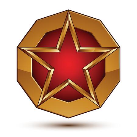 glorioso: Geometric vector elemento dourado glamourosa isolado no contexto branco, 3d polido estrela vermelha bras