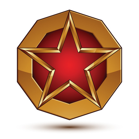 Geometric vector glamorous golden element isolated on white backdrop, 3d polished red star shaped blazon placed on a rounded surface. Glorious branded symbol.