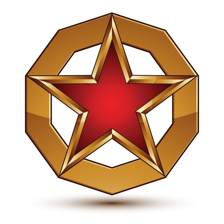 pentagonal: Vector stylized symbol isolated on white background.  Glamorous red star with golden outline, clear EPS 8, pentagonal insignia.