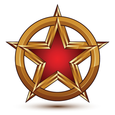 signet: Refined vector red star emblem with golden borders, 3d pentagonal design element, clear EPS 8. 3d golden ring, polished glossy pentagonal dimensional signet.
