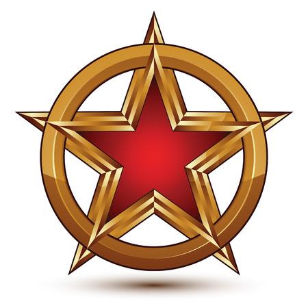 Refined vector red star emblem with golden borders, 3d pentagonal design element, clear EPS 8. 3d golden ring, polished glossy pentagonal dimensional signet.