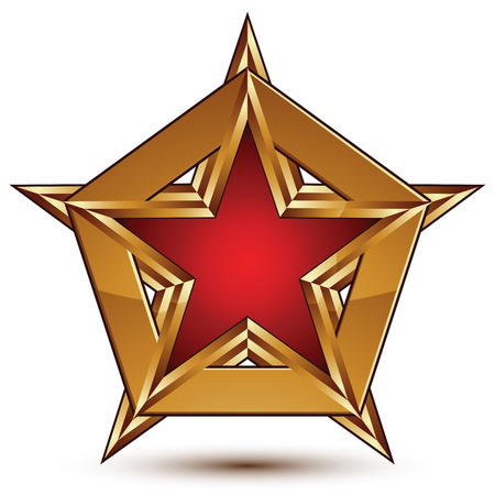 Glamorous vector template with pentagonal red star with golden outline placed on a polygonal object, graphic design element. Conceptual decorative icon, clear eps8 vector seal.