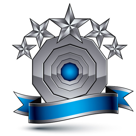 argent: 3d vector classic royal symbol, sophisticated silver round emblem with five pentagonal stars isolated on white background, glossy argent element with blue splendid ribbon.