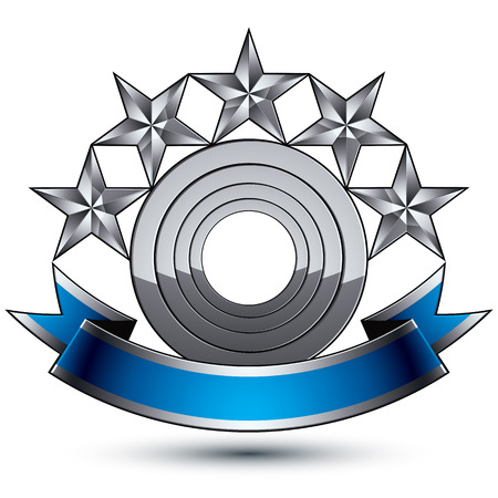 estrellas cinco puntas: Her�ldico azul brillante 3D y el icono gris - se pueden utilizar en la web y dise�o gr�fico, estrellas plateadas de cinco puntas colocadas sobre magn�fico elemento redondeado con cinta elegante, EPS claros 8 vector.
