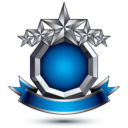 Heraldic 3d glossy blue and gray icon - can be used in web and graphic design, five-pointed silver stars placed over rounded magnificent element with elegant ribbon, clear EPS 8 vector. Illustration