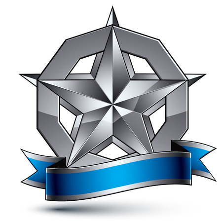Sophisticated vector emblem with silver glossy star and blue wavy ribbon, 3d decorative design element, clear EPS 8.
