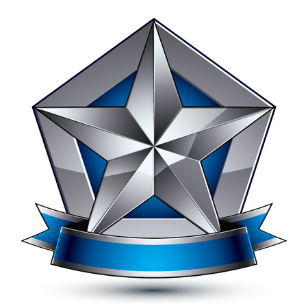 magnificent: Heraldic 3d glossy blue and gray icon - can be used in web and graphic design, five-pointed silver star placed over shield magnificent element with elegant ribbon, clear EPS 8 vector.