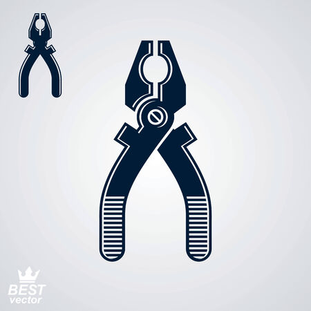 manufactory: Vector industry black and white pliers, includes additional version. Technical manufacture instrument. Web design realistic element.