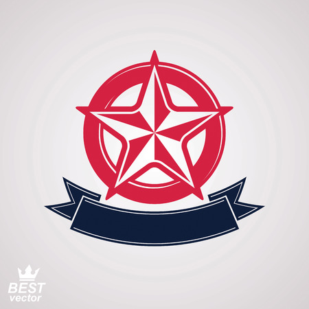 pentagonal: Stylized corporate branding icon, clear eps8 symbol. Vector simple pentagonal star with decorative ribbon, isolated on white background. Illustration