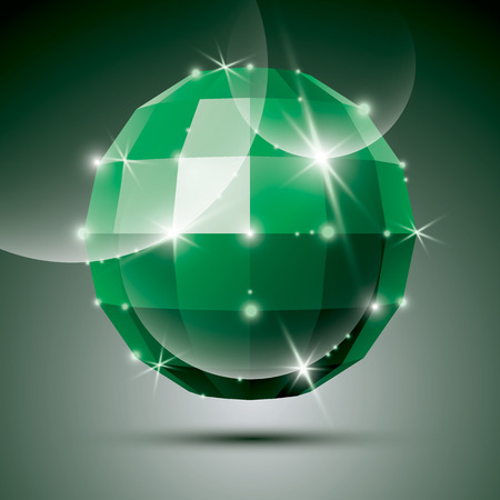 emerald stone: Party 3D green glossy disco ball created from geometric figures. Vector festive illustration - eps10 glossy emerald stone. Illustration
