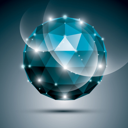 sapphire gemstone: Abstract 3D sapphire gala sphere with gemstone effect, blue glossy orb created from triangles, eps10.