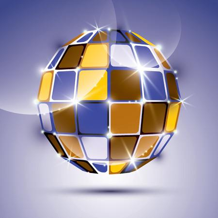 mirror ball: Brillante bola de espejos inusual 3D creado a partir de figuras geom�tricas. Vector festivo ilustraci�n - eps10 piedra preciosa brillante dimensional.