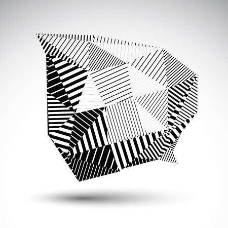 deformed: Striped monochrome abstract vector object isolated on white background. Deformed element constructed from triangles with parallel lines. Illustration