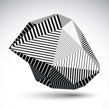 misshapen: Multifaceted asymmetric contrast figure with parallel lines. Striped monochrome misshapen abstract vector object constructed from graffiti triangles. Stencil element.