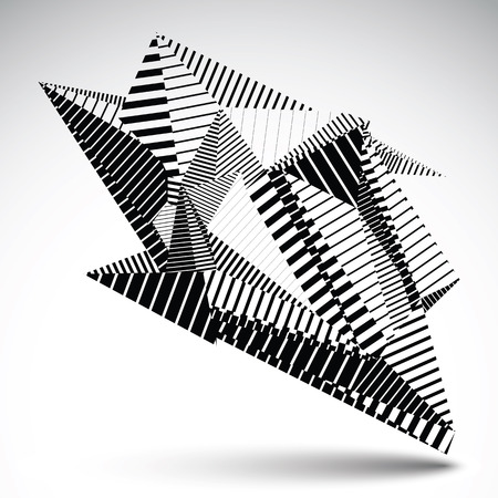 asymmetric: Complicated contrast eps8 figure constructed from triangles with parallel lines. Asymmetric striped sharp object isolated on white background. Illustration