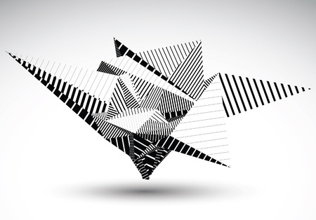 misshapen: Cybernetic polygonal contrast element constructed from simple geometric figures. Misshapen lined acute object for graphic design. Black and white stencil model. Illustration