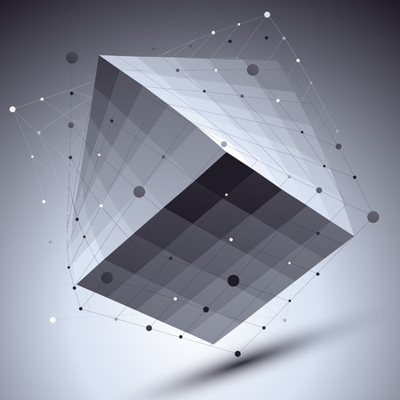 imposed: Abstract squared vector monochrome object with lines mesh over dark background, creative technology cube with grid imposed.