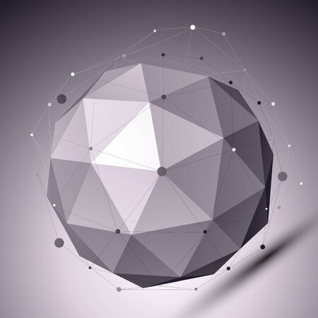 3D abstract spherical object with lines and dots over dark background. Contrast backdrop with wireframe imposed over globe. Vettoriali
