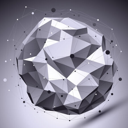 asymmetric: Spatial vector monochrome digital eps8 backdrop, dimensional contrast technology spherical element with wireframe placed over shaded background.