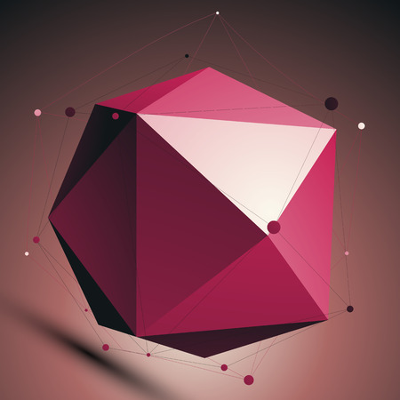 facet: Ruby 3D modern lattice abstract background, origami facet spherical structure with wire mesh.
