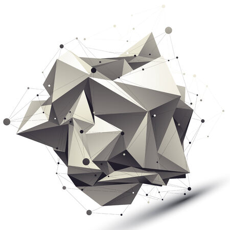asymmetric: 3D mesh modern asymmetric abstract object, origami futuristic symbol with lines mesh.