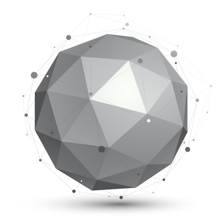 crystal ball: Geometric monochrome spherical structure with wire mesh, modern science and tech element.