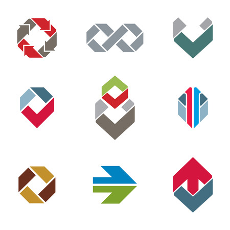 Abstract creative business icons vector collection, abstract stylish design elements set. Vector