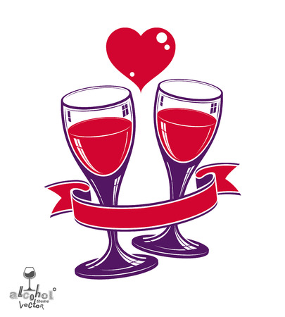 Two wineglasses vector artistic illustration – wedding couple conceptual graphic object. Valentine's Day celebration theme – stylized goblet with red heart and beautiful wavy ribbon.