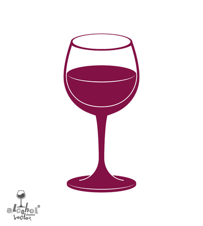 revelry: Classic vector goblet, stylish alcohol theme illustration. Lifestyle graphic design element - dating idea holiday glass of wine.