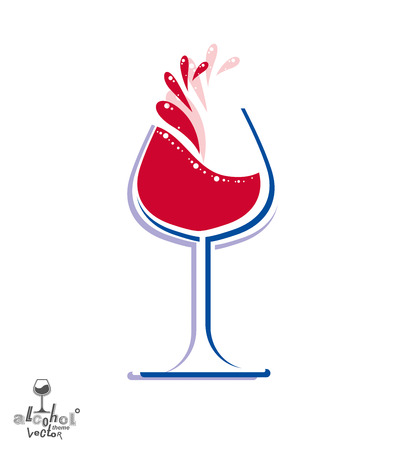 rendezvous: Beautiful vector wine goblet with splash, alcohol theme illustration. Stylized art wineglass, decorative romantic rendezvous object. Holiday and anniversary graphic element.