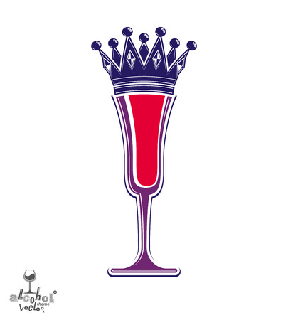 champagne celebration: Champagne glass with royal crown, decorative goblet full with sparkling wine. Queen of the evening conceptual illustration, celebration theme eps8 object. Illustration
