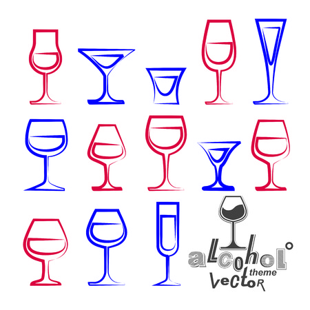 glass half full: Vector glasses collection – martini, wineglass, cognac, whiskey and champagne. Celebration idea eps8 simple illustrations isolated on white background. Lounge design elements.