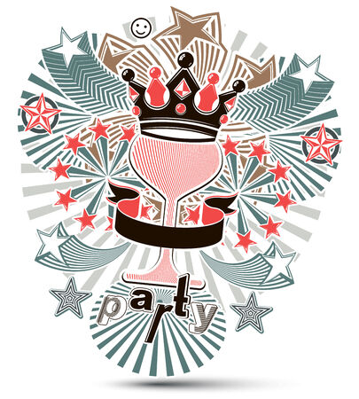 Joyful holiday background with stylized 3d monarch crown placed over glass goblet. Celebration and party theme poster with beautiful stars and bright rays. Design elements can be used separately. Vector