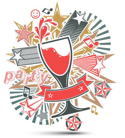 Celebrative leisure backdrop with musical notes, glass goblet with wine and decorative stars. Graphic festive splash poster with design elements easy to use separately. Vector
