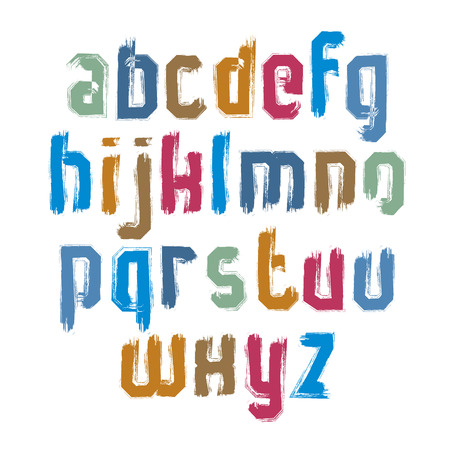 verb: Vector alphabet letters set, hand-drawn colorful script, bright brushed small letters. Illustration