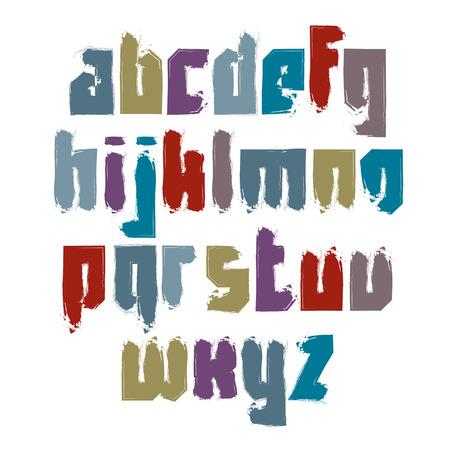 verb: Vector fuente caligr�fica brillante, letras min�sculas acuarela manuscritas aislados en blanco, tipograf�a creativa dibujado con pincel de tinta. Vectores