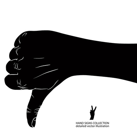 disapprove: Thumb down hand sign, detailed black and white vector illustration. Illustration