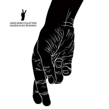 Cheater hand met gekruiste vingers, gedetailleerde zwart-wit vector illustratie.