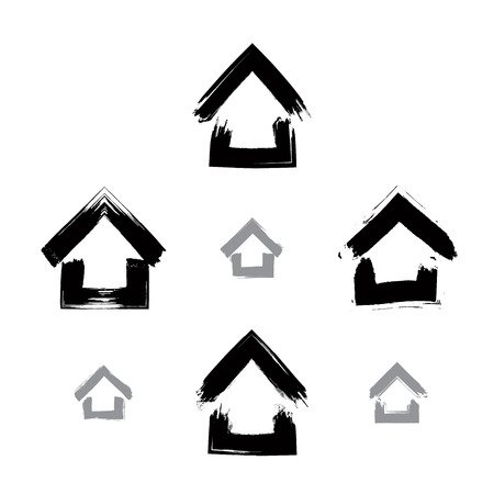 Set of hand-drawn monochrome home icons, collection of black and white estate logotypes, simple cottage signs. Hand-painted house symbols created with real ink brush isolated on white background. 向量圖像