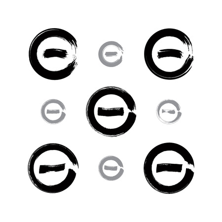 minimize: Set of monochrome hand-drawn validation icons scanned and vectorized, collection of brush drawing minus press buttons, hand-painted minimize symbols isolated on white background.